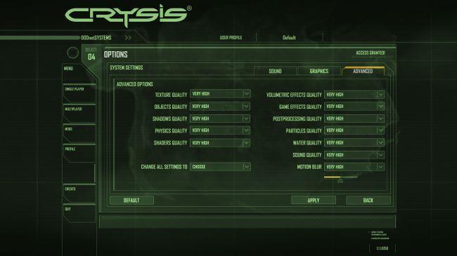 Настройки Crysis