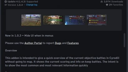 CyrHUD addon for Elder Scrolls Online 412x232 - CyrHUD - аддон для поиска актуальных сражении в Сиродилеcd
