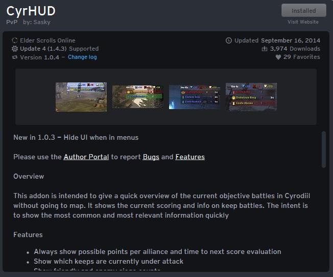 CyrHUD addon for Elder Scrolls Online - CyrHUD - аддон для поиска актуальных сражении в Сиродилеcd