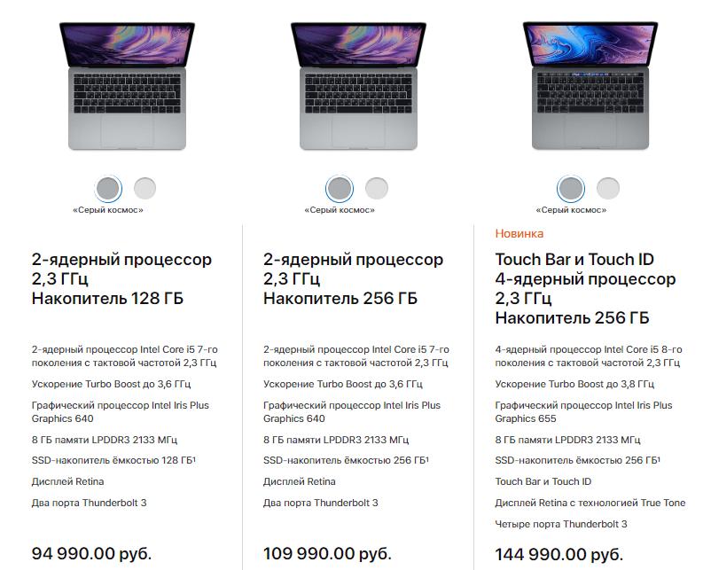 "Цены и характеристики на MacBook Pro 13"""