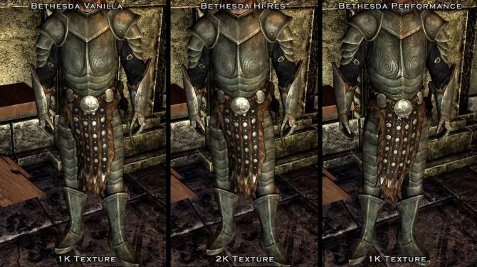 Bethesda Performance Textures - Armor, Clothes, Weapons