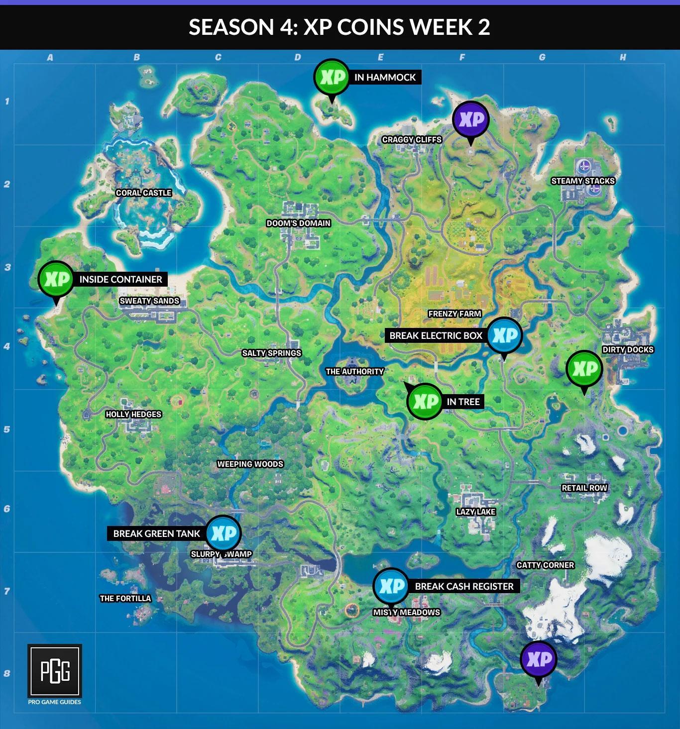 Карта всех монет недели 2 Сезон 4 в Fortnite